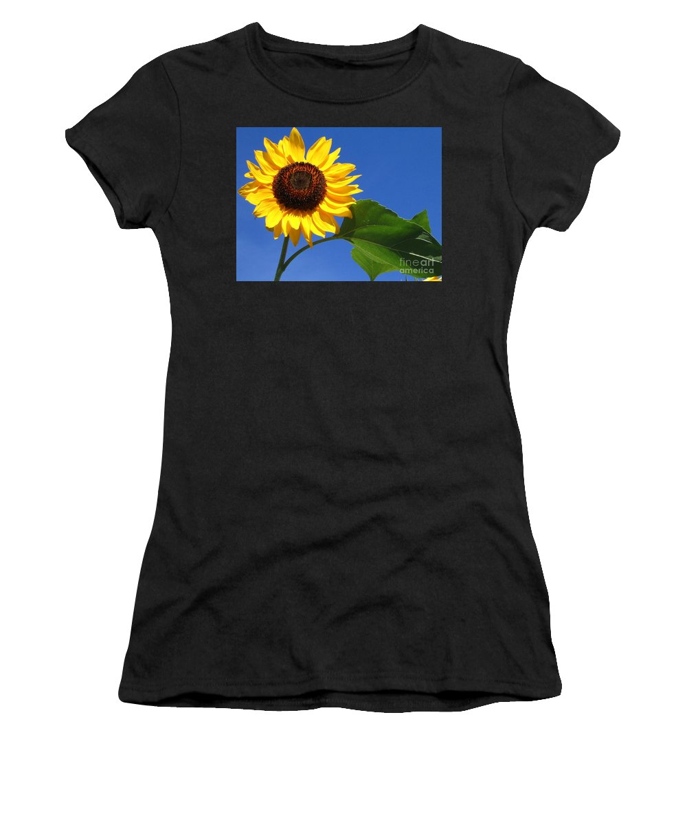 Sunflower Women's T-Shirt (Athletic Fit) featuring the photograph Sunflower Alone by Line Gagne