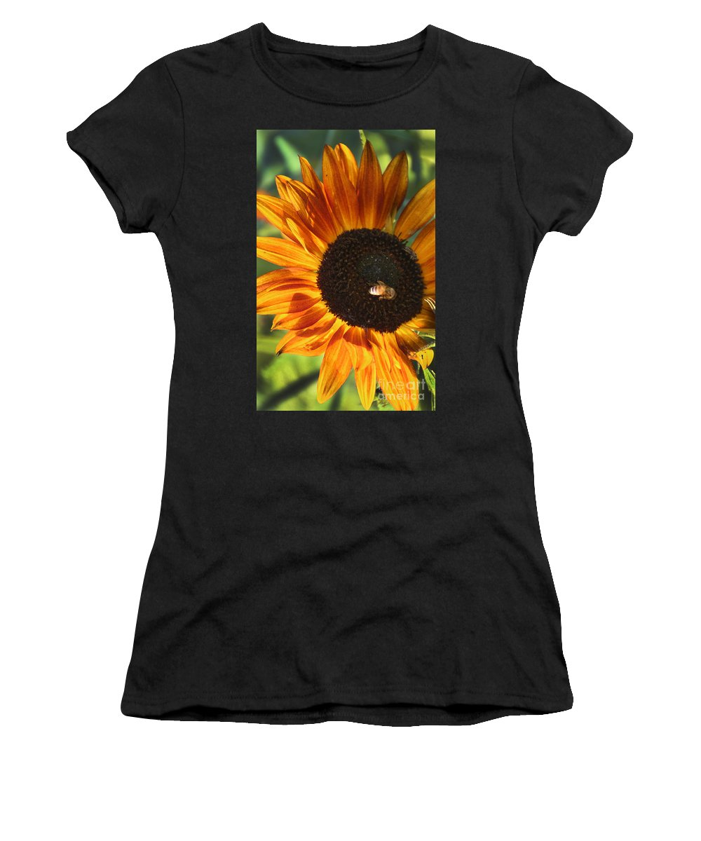 Sunflower Women's T-Shirt featuring the photograph Sunflower And Bee-4041 by Gary Gingrich Galleries