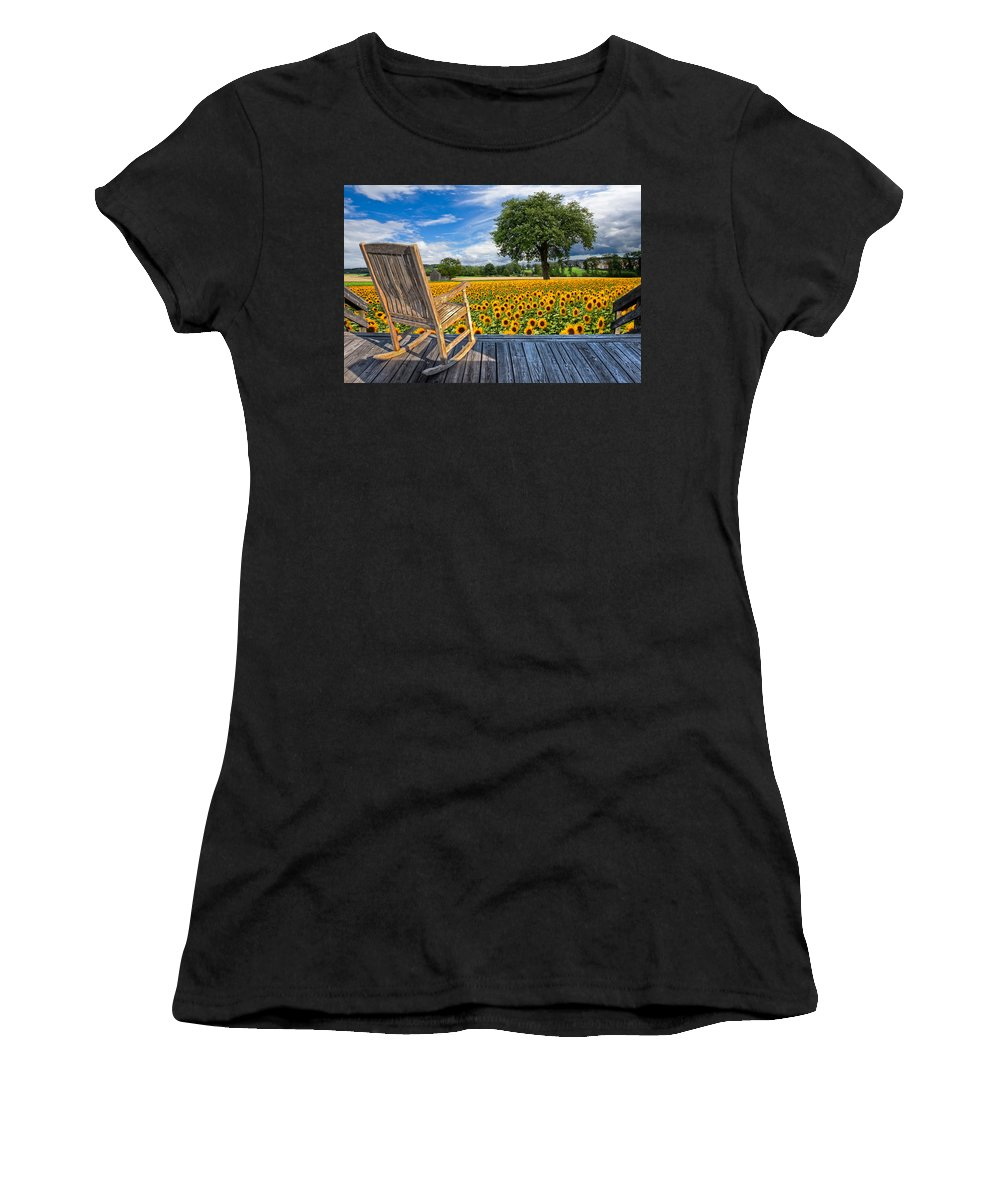Austria Women's T-Shirt (Athletic Fit) featuring the photograph Sunflower Farm by Debra and Dave Vanderlaan