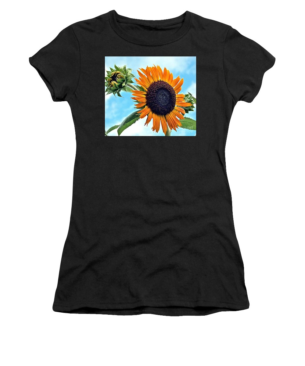 Sunflower Women's T-Shirt featuring the photograph Sunflower In The Sky by Annette Allman