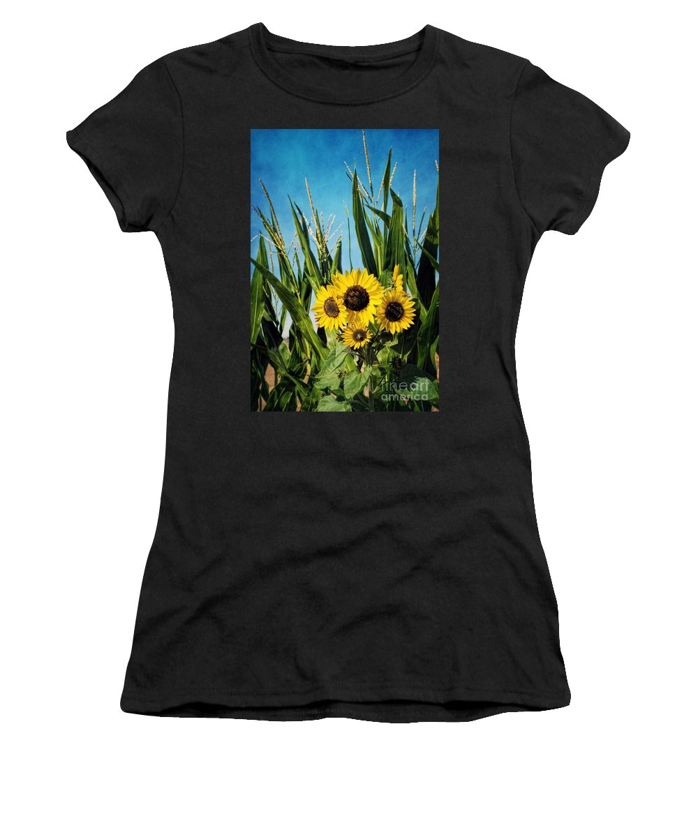 Autumn Women's T-Shirt (Athletic Fit) featuring the photograph Sunflowers In The Corn Field by Peggy Hughes