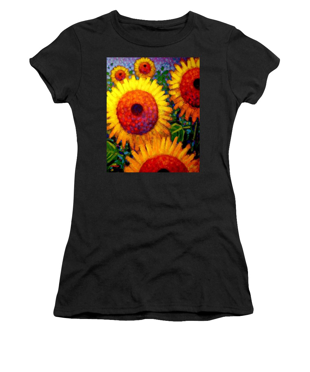 Flowers Women's T-Shirt featuring the painting Sunflowers by John Nolan