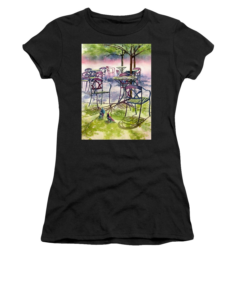 Sunlight Women's T-Shirt featuring the painting Sunkissed Shadows by Sherri Bails