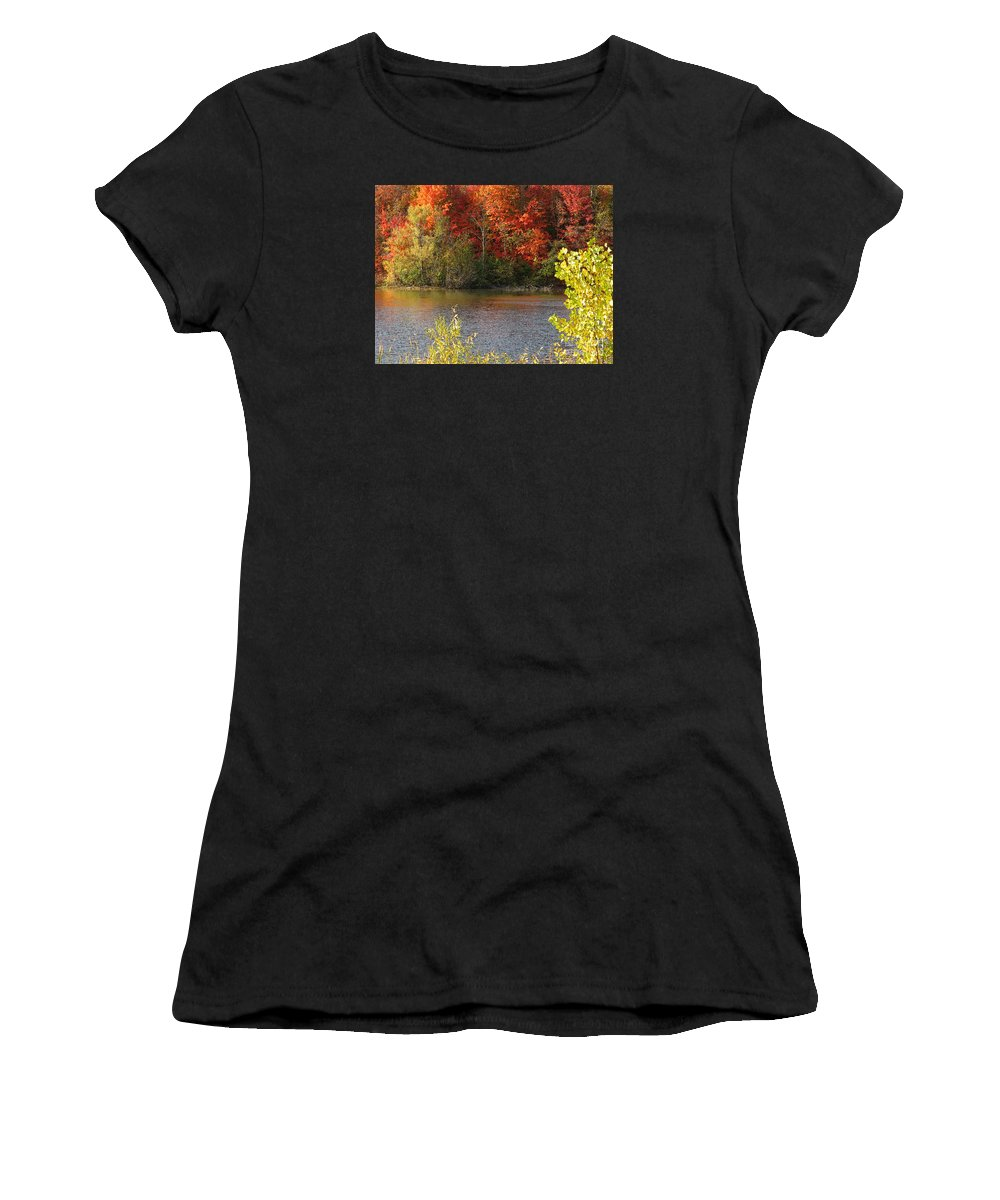 Autumn Women's T-Shirt (Athletic Fit) featuring the photograph Sunlit Autumn by Ann Horn