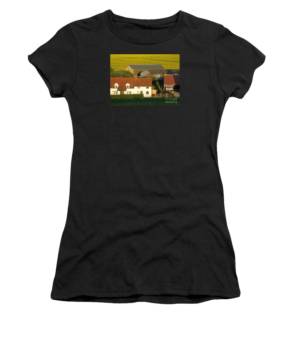 Farm Women's T-Shirt (Athletic Fit) featuring the photograph Sunlit Farm by Ann Horn