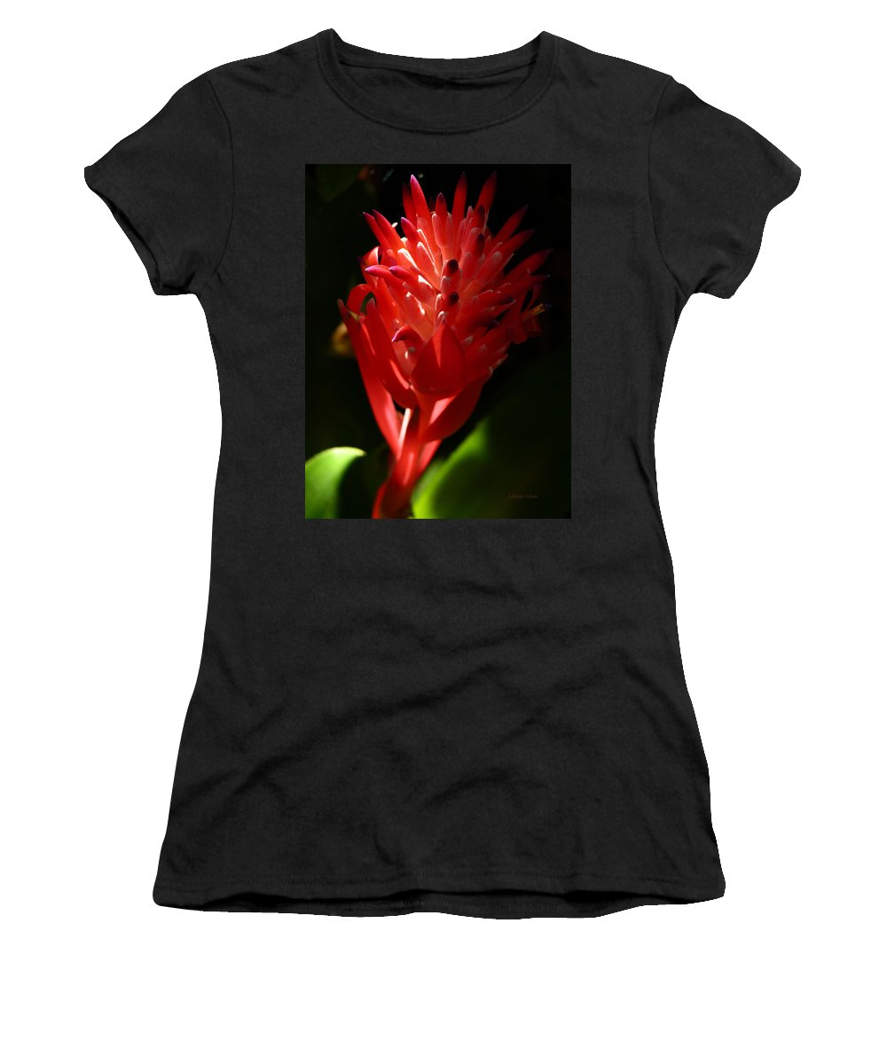 Art Women's T-Shirt (Athletic Fit) featuring the photograph Sunlit Red Bromeliad 2 by Julianne Felton