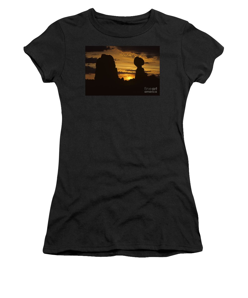 Landscape Women's T-Shirt (Athletic Fit) featuring the photograph Sunrise Arches National Park With Balanced Rock Silhouetted Agai by Jim Corwin