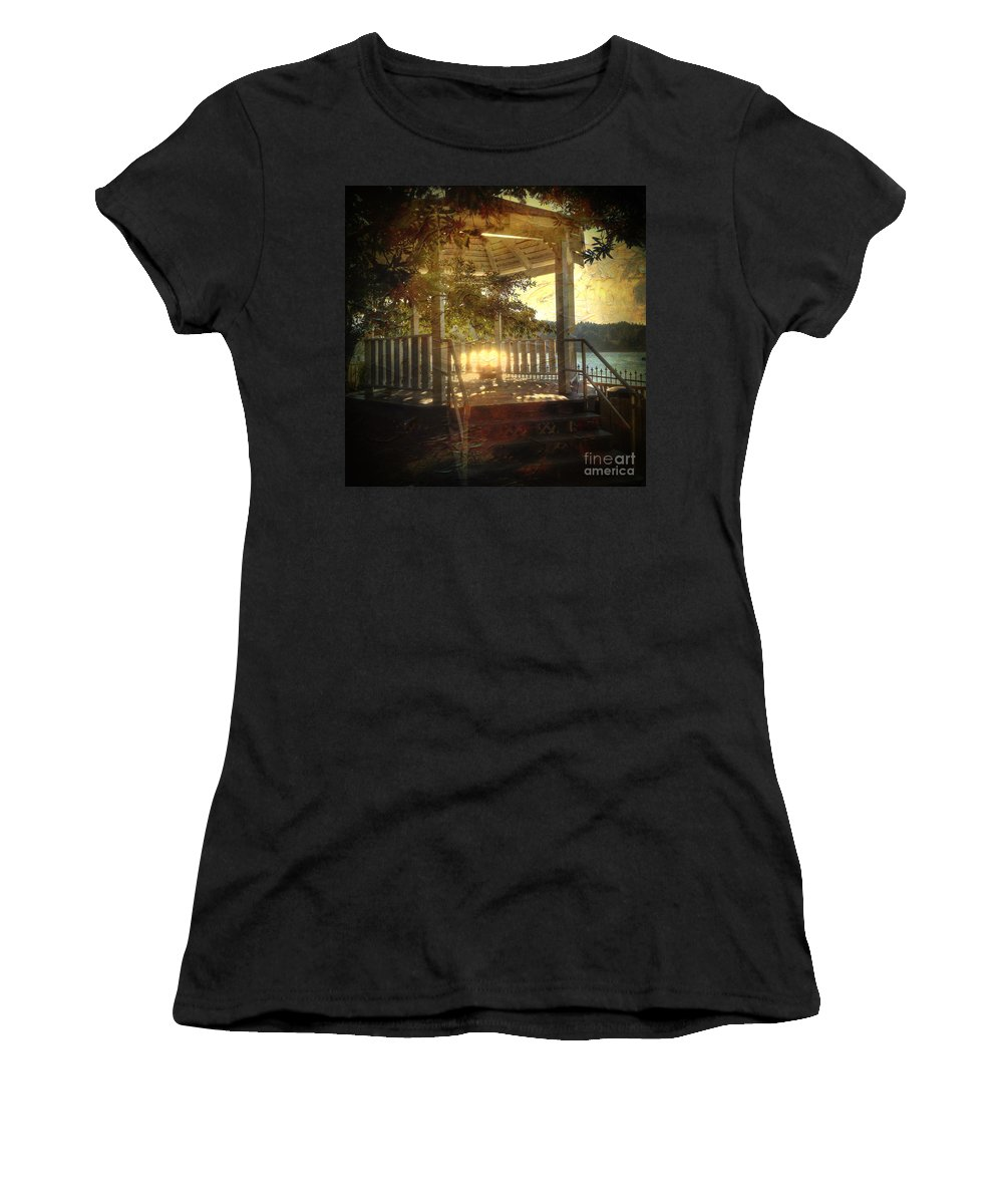 Sunrise Women's T-Shirt (Athletic Fit) featuring the photograph Sunrise In The Gazebo by Charlene Mitchell