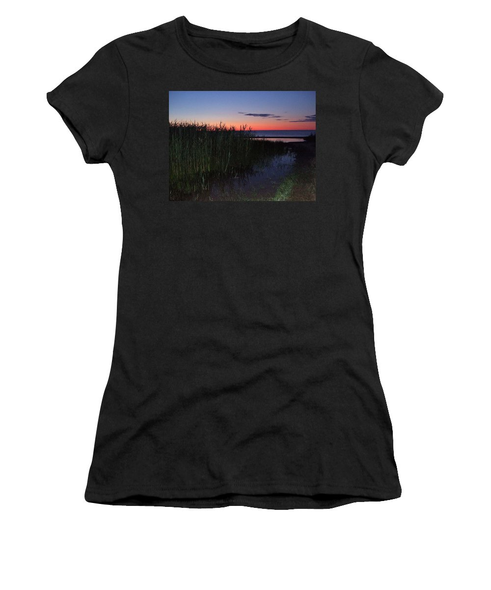 4:30am Women's T-Shirt (Athletic Fit) featuring the photograph Sunrise Over Lake Huron by Susan Wyman