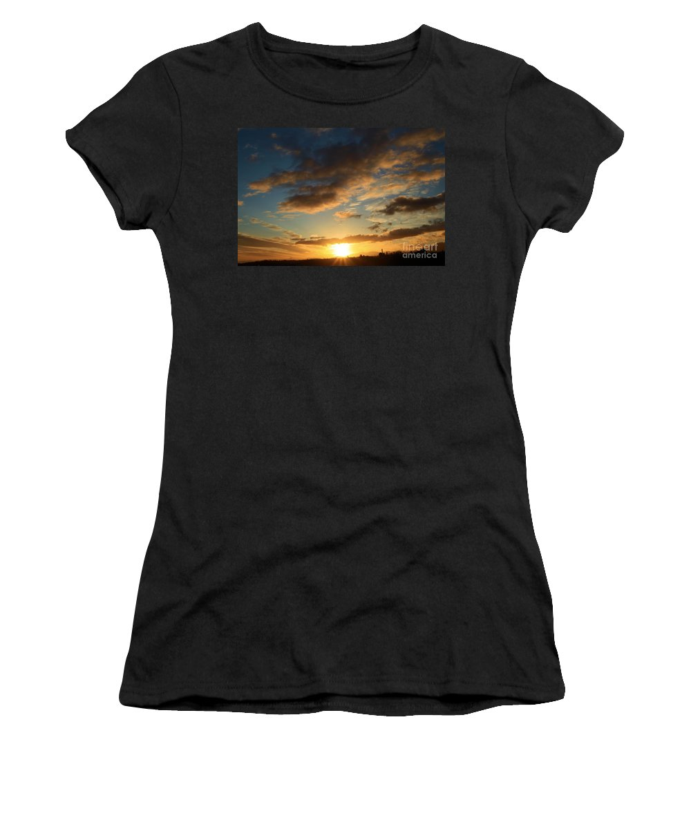 Port Angles Women's T-Shirt (Athletic Fit) featuring the photograph Sunrise Over Port Angeles by Adam Jewell