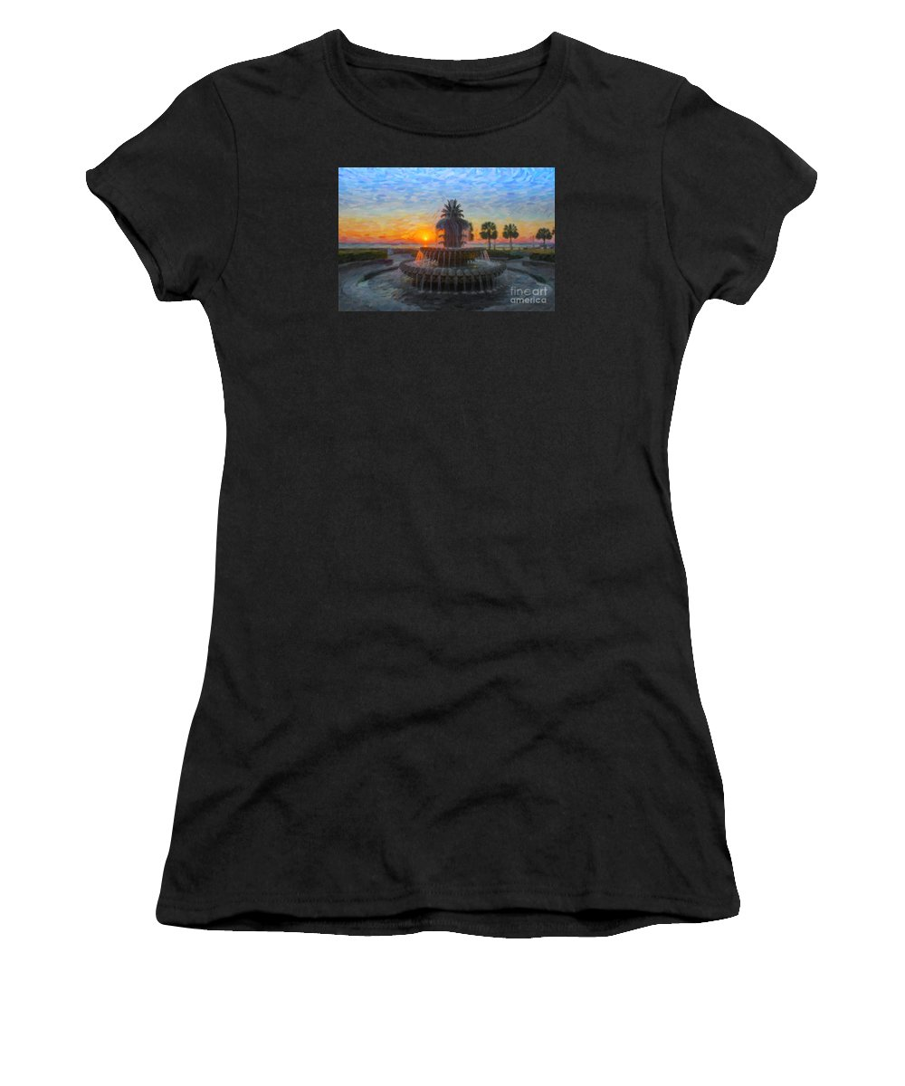 Pineapple Fountain Women's T-Shirt featuring the digital art Sunrise Over The Pineapple by Dale Powell