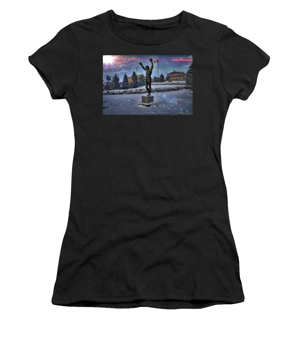 Rocky Statue Women's T-Shirt (Athletic Fit) featuring the photograph Sunrise Rocky Flared by Alice Gipson