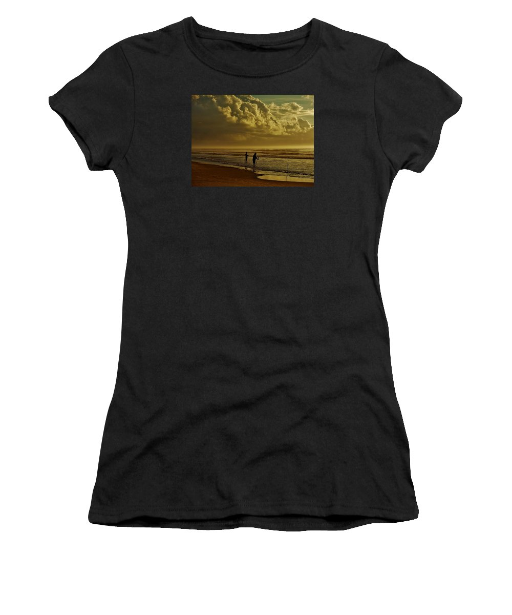 Fishing Women's T-Shirt featuring the photograph Sunrise Surf Fishing by Ed Sweeney