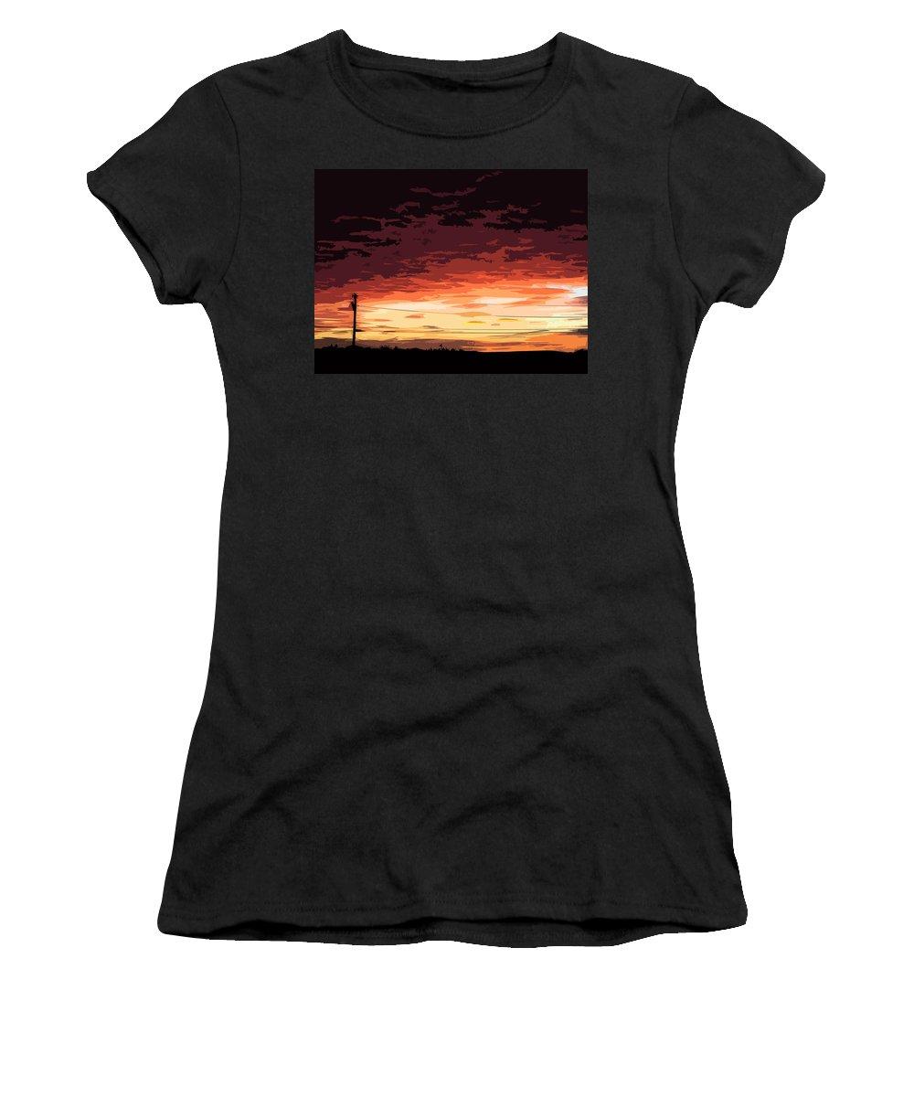Digital Art Women's T-Shirt featuring the digital art Sunset Alternative by William Tasker