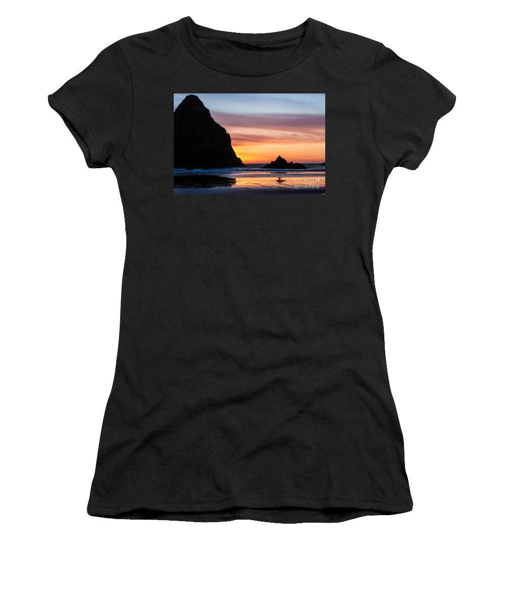 Brookings Women's T-Shirt (Athletic Fit) featuring the photograph Sunset At Whalehead Beach by James Adams