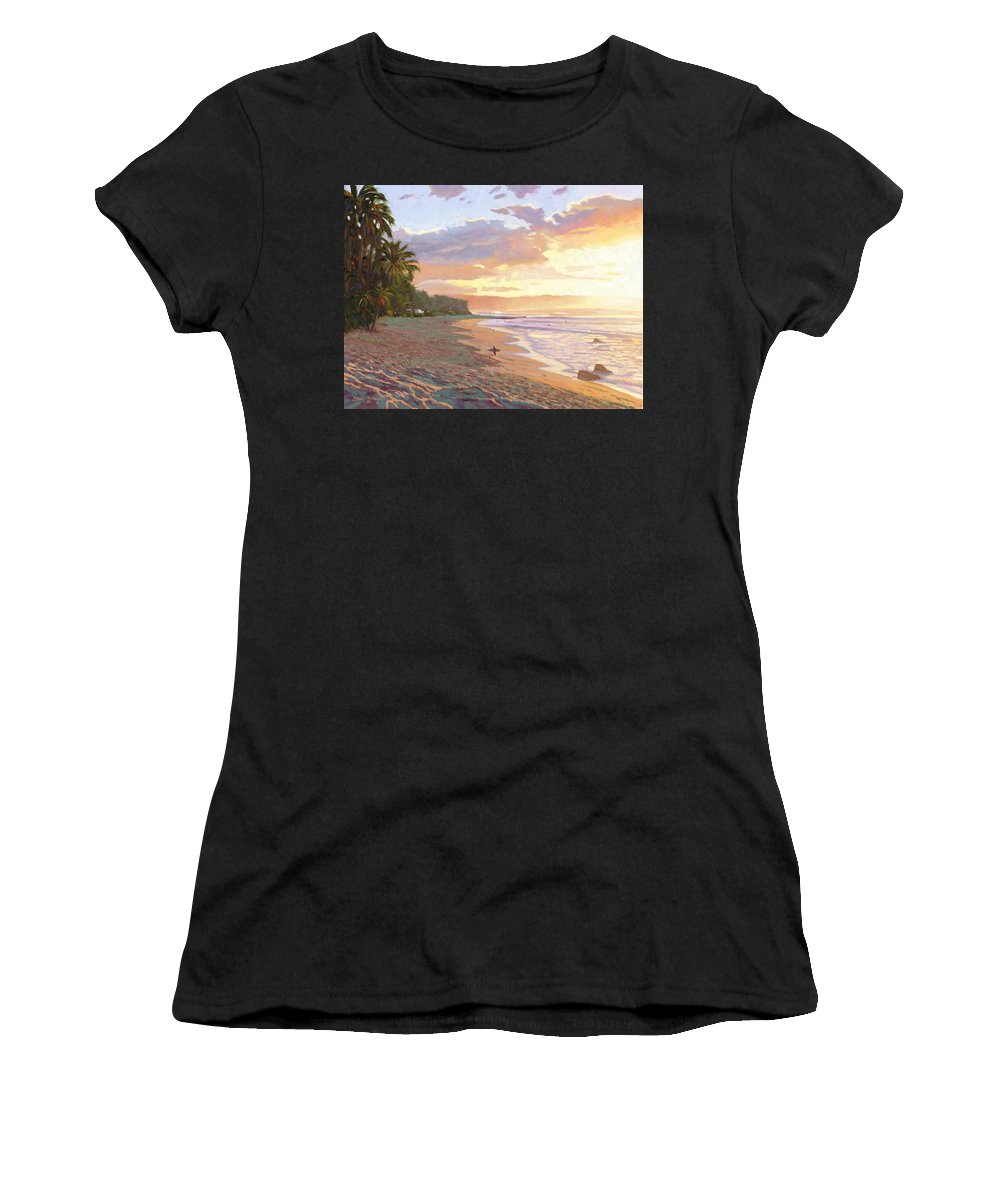 Sunset Beach Women's T-Shirt (Athletic Fit) featuring the painting Sunset Beach - Oahu by Steve Simon
