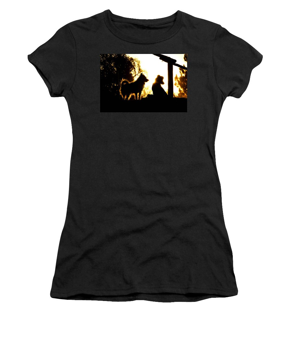 Canine Women's T-Shirt featuring the photograph Sunset Buddies by Tracey Beer