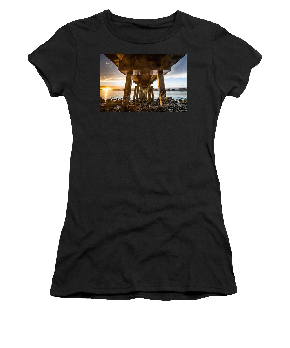 Humboldt Bay Women's T-Shirt (Athletic Fit) featuring the photograph Sunset From Under The Pier by Greg Nyquist