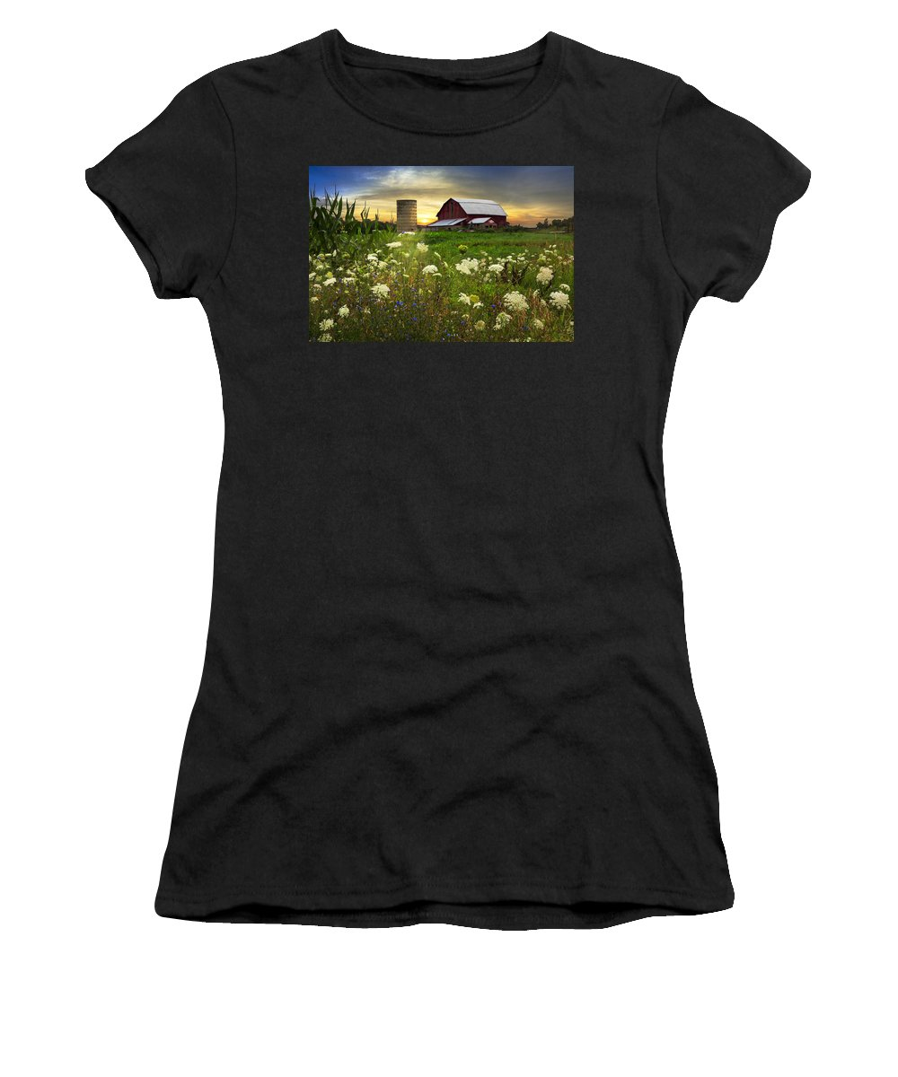 Appalachia Women's T-Shirt (Athletic Fit) featuring the photograph Sunset Lace Pastures by Debra and Dave Vanderlaan