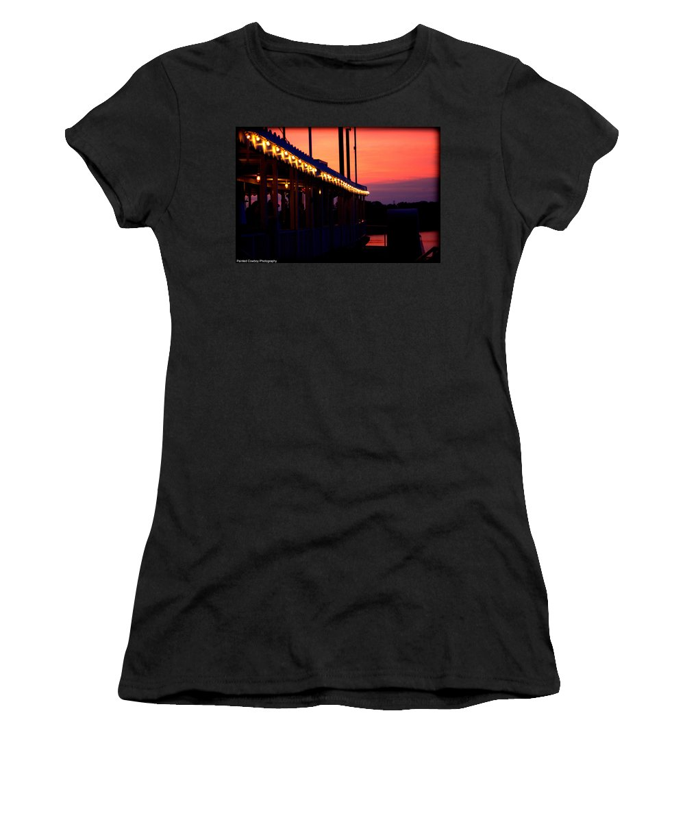 Boat Women's T-Shirt (Athletic Fit) featuring the photograph Sunset Lights by Daniel Jakus