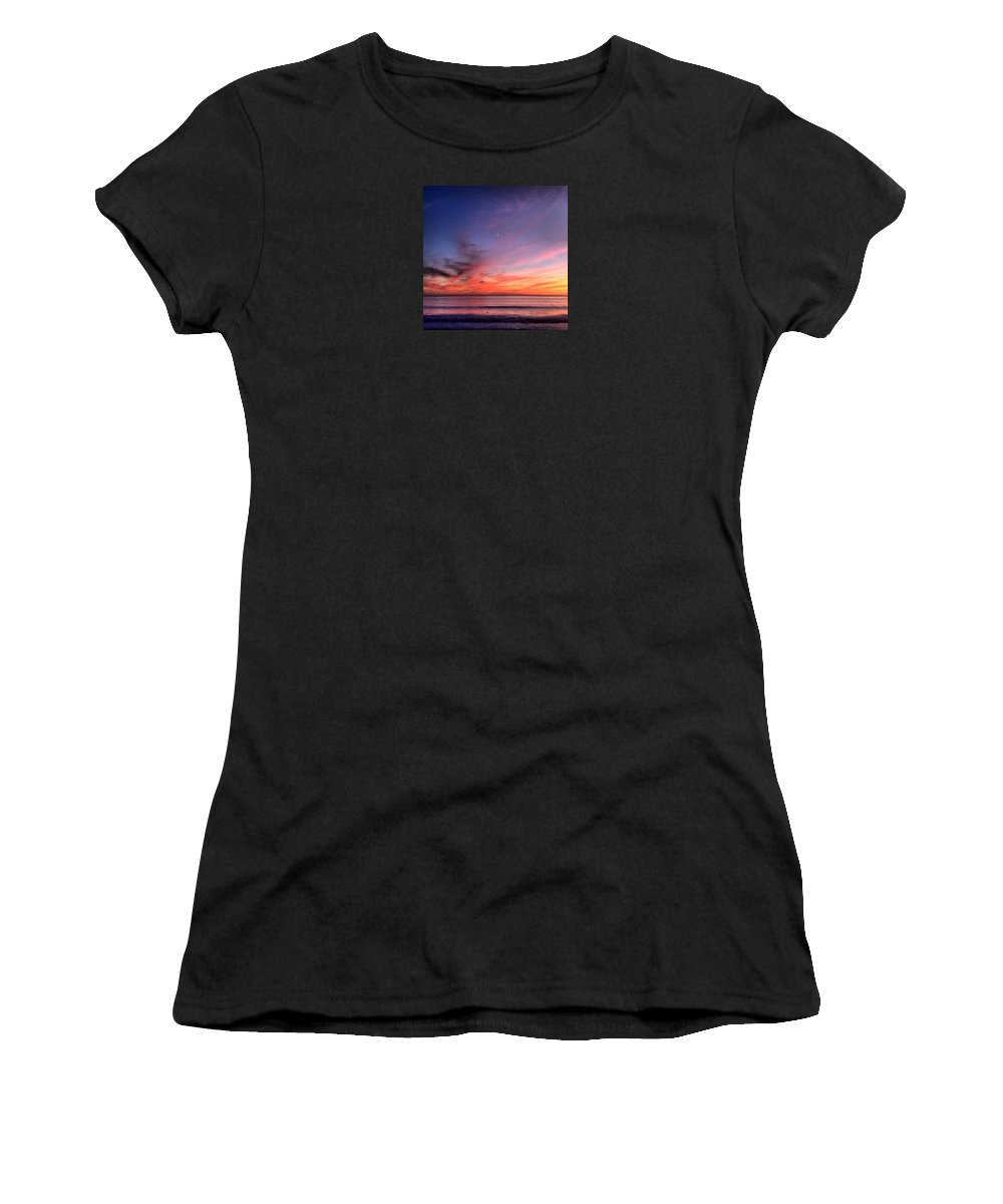 Photography Women's T-Shirt featuring the photograph Sunset Moon Rise by Paul Carter