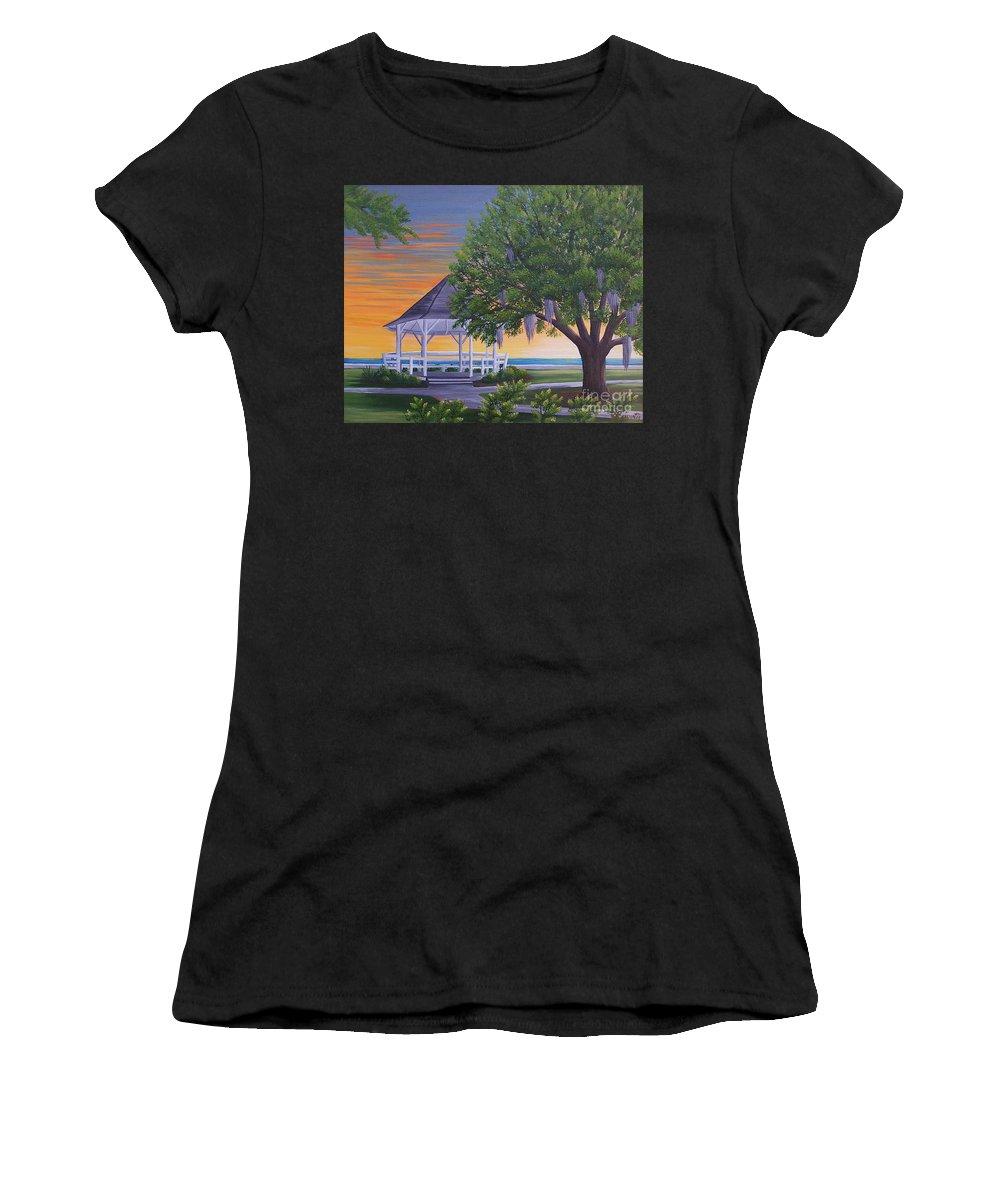 Gazeebo Women's T-Shirt featuring the painting Sunset On The Gazeebo by Valerie Carpenter