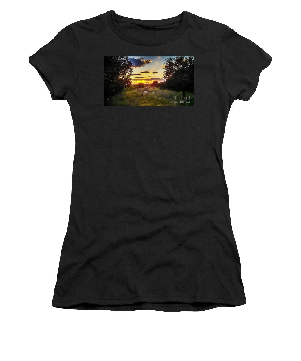 Sunset In Field Of Wildflowers Women's T-Shirt featuring the photograph Sunset Over Field Of Flowers by Peggy Franz