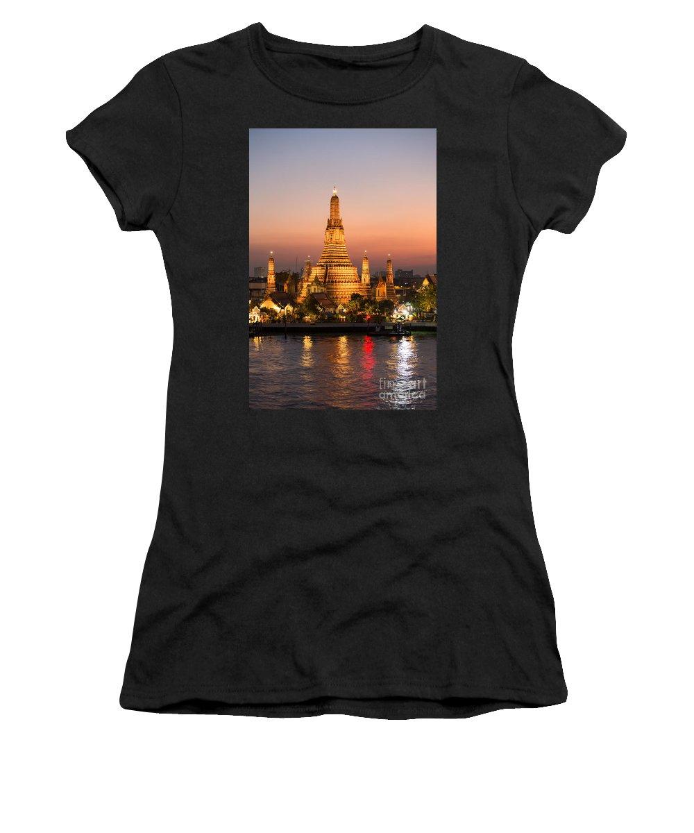 City Women's T-Shirt featuring the photograph Sunset Over Wat Arun Temple - Bangkok by Matteo Colombo