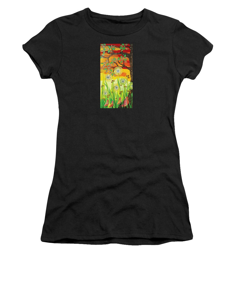 Mixed Media Women's T-Shirt (Athletic Fit) featuring the mixed media Sunset Quail by Renee Whitney