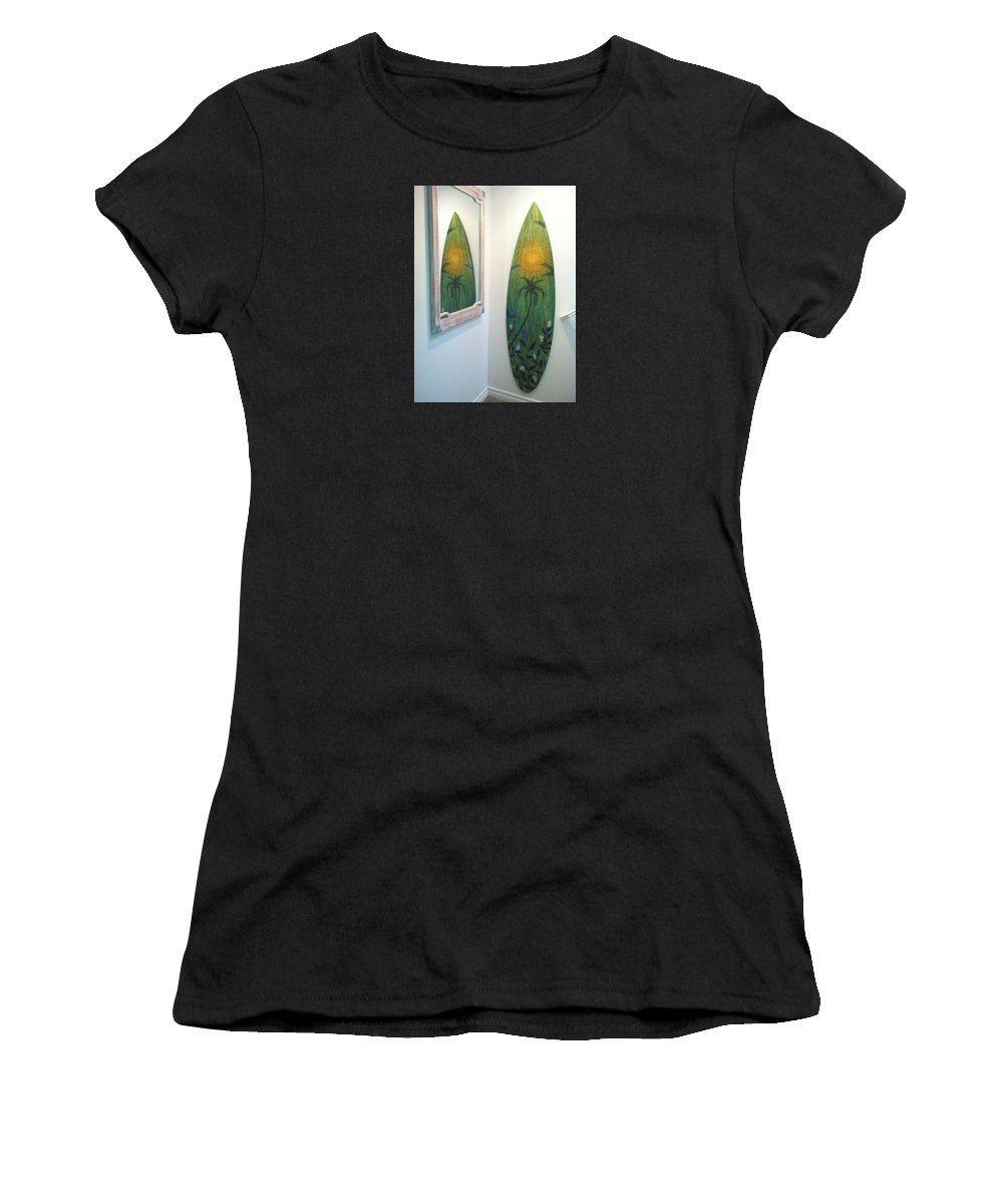 Sunsetreflection Women's T-Shirt featuring the painting Sunset Reflection by Paul Carter
