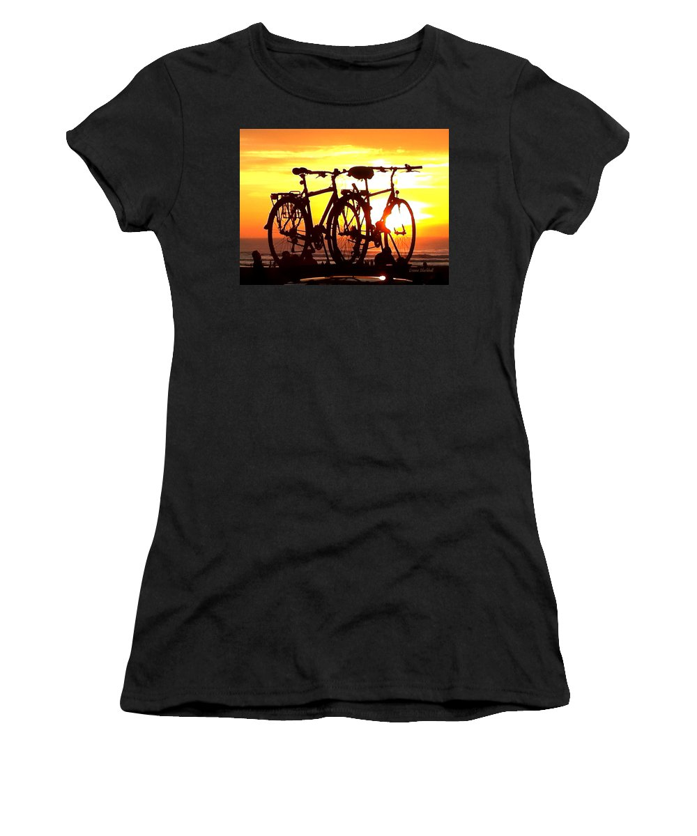 Bikes Women's T-Shirt featuring the photograph Sunset Ride by Donna Blackhall
