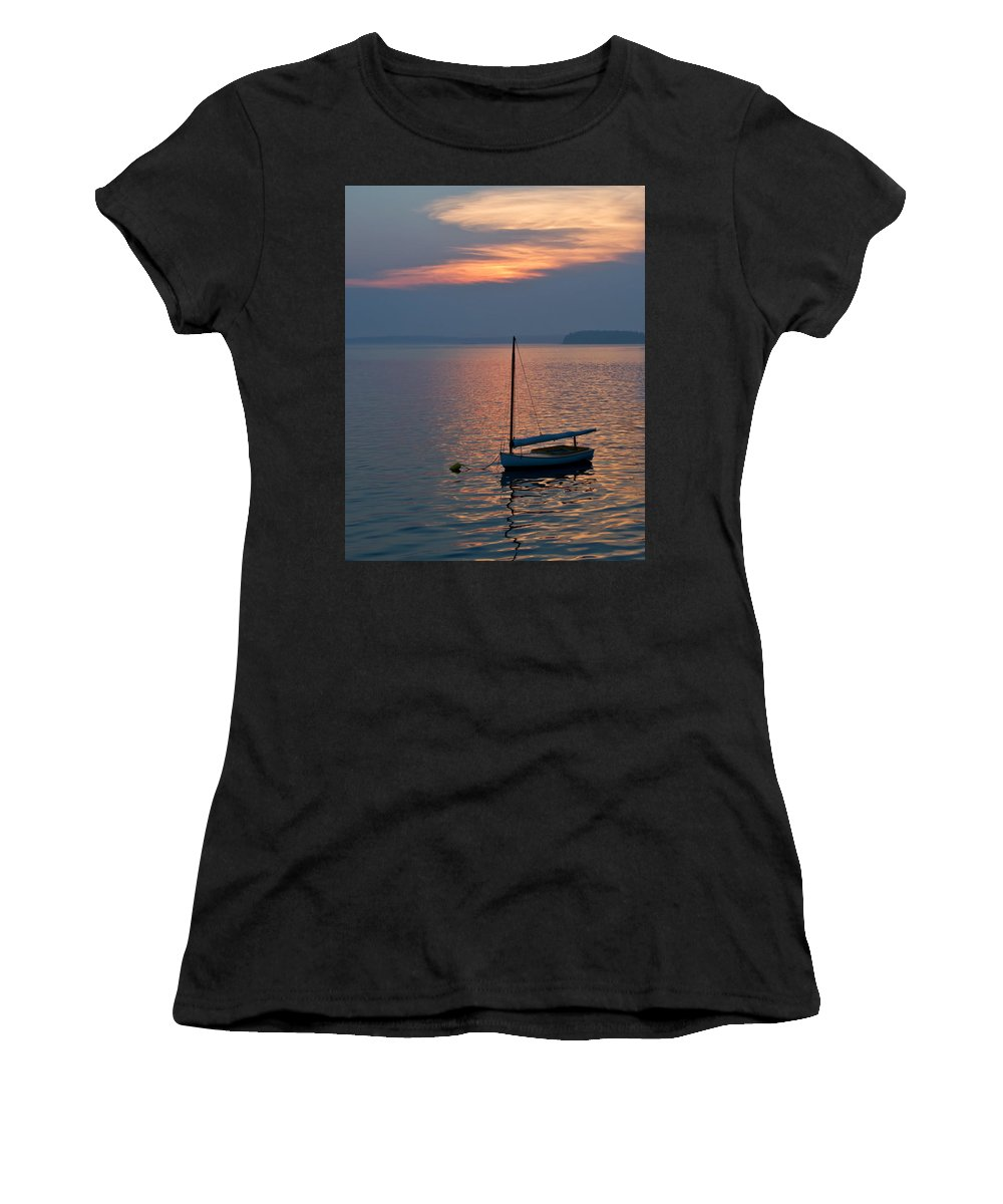 Sailboat Women's T-Shirt (Athletic Fit) featuring the photograph Sunset Sailboat by Jack Zievis