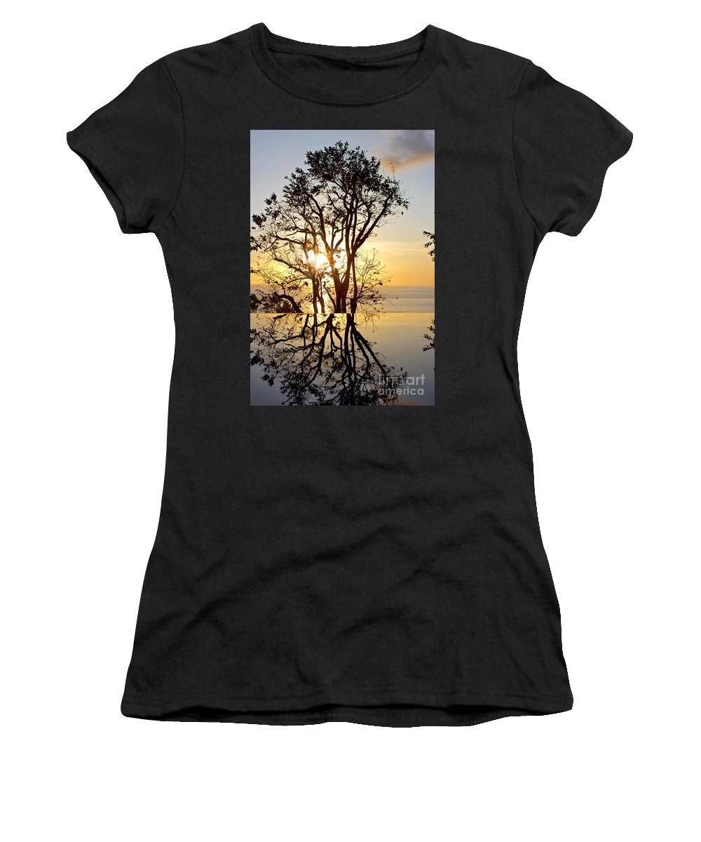 Photography Women's T-Shirt featuring the photograph Sunset Silhouette And Reflections by Kaye Menner
