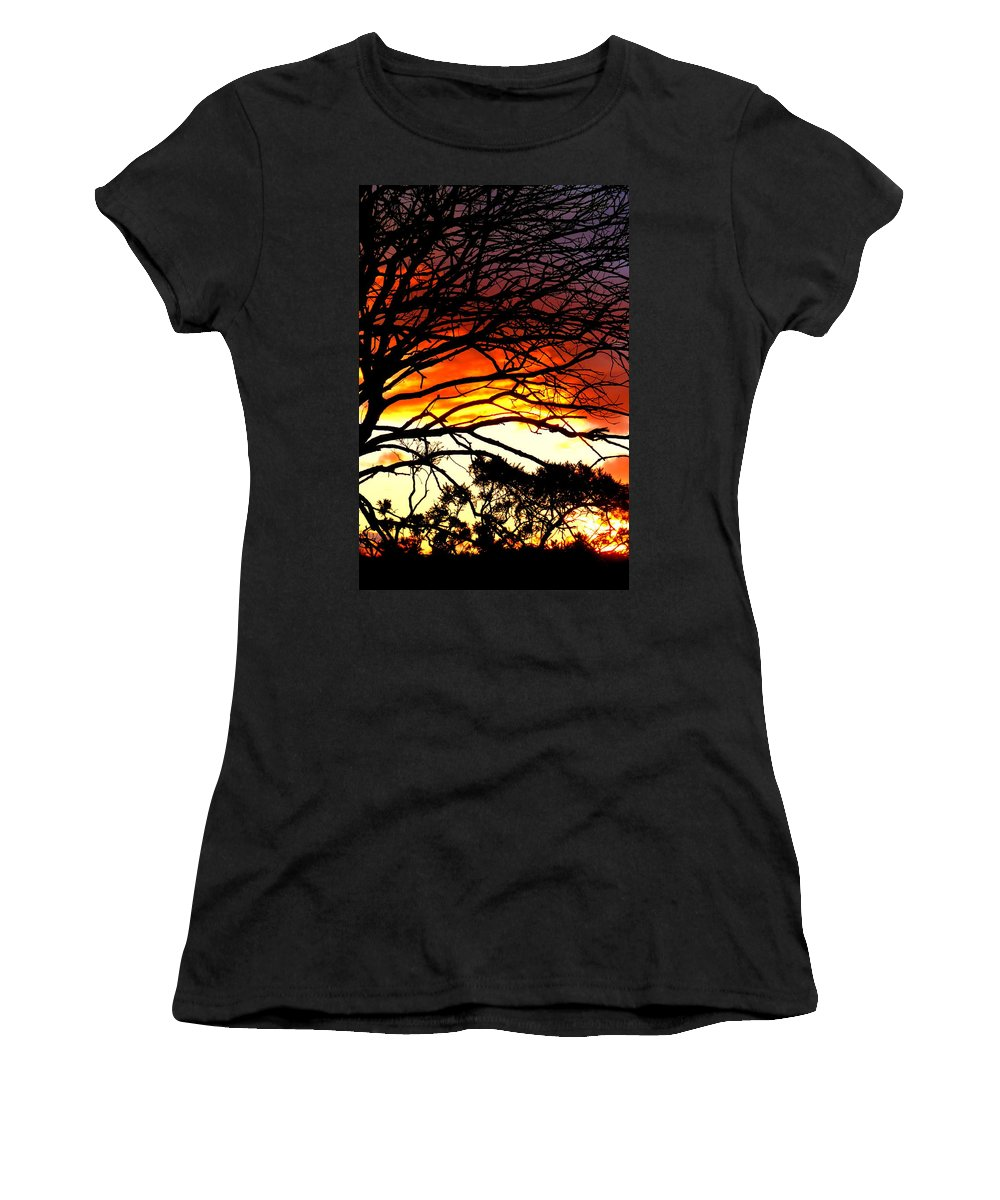 Sunset Women's T-Shirt (Athletic Fit) featuring the photograph Sunset Tree Silhouette by The Creative Minds Art and Photography