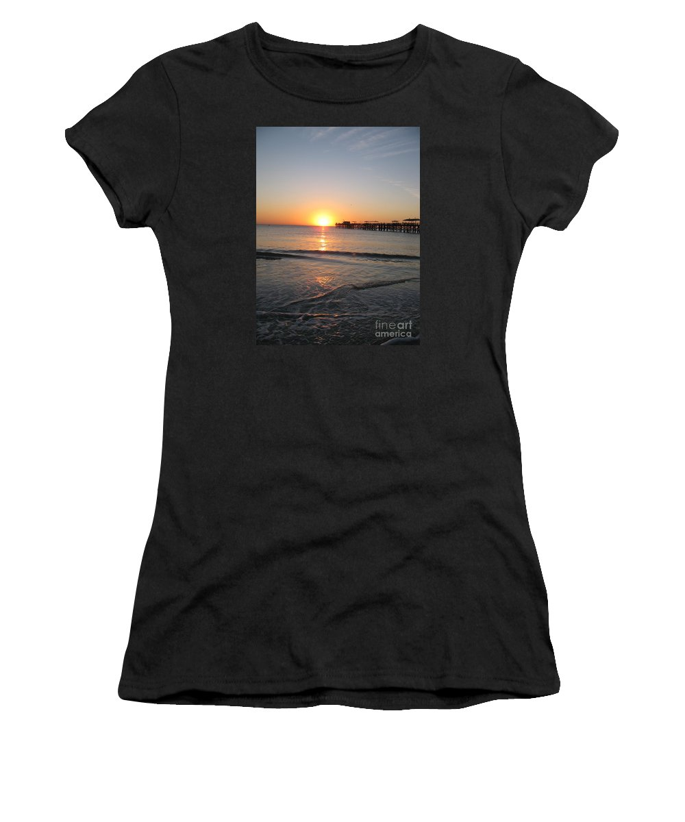 Sunset Women's T-Shirt (Athletic Fit) featuring the photograph Fishingpier Sunset by Christiane Schulze Art And Photography