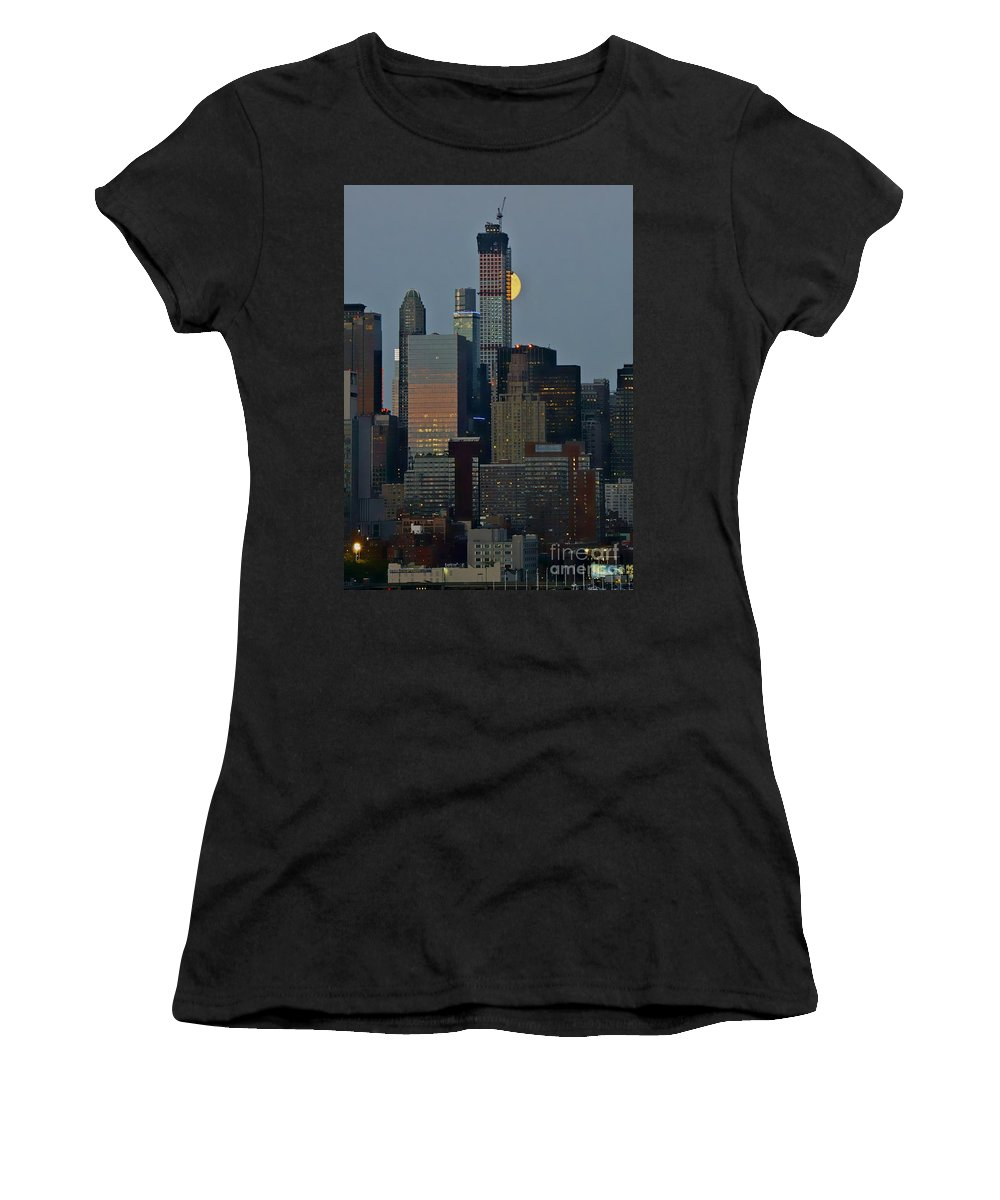 Super Moon Women's T-Shirt featuring the photograph Super Moon Rising by Lilliana Mendez