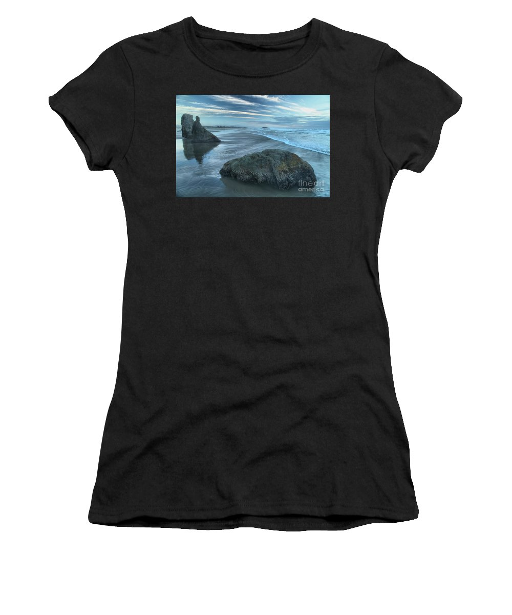 Bandon Beach Women's T-Shirt (Athletic Fit) featuring the photograph Surf Statues by Adam Jewell