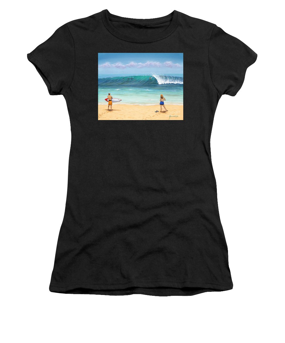 Hawaii Women's T-Shirt (Athletic Fit) featuring the painting Surfing Hawaii by Jerome Stumphauzer