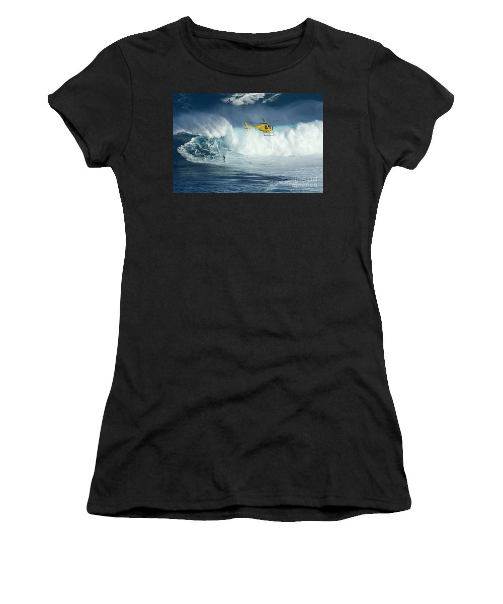 Helicopter Women's T-Shirt (Athletic Fit) featuring the photograph Surfing Jaws 6 by Bob Christopher