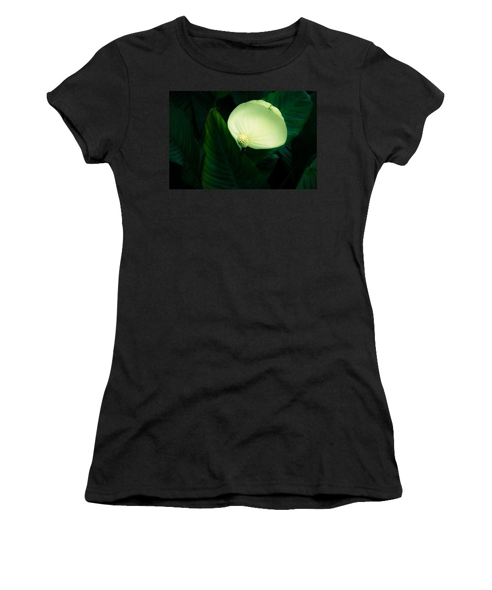 Spathyphyllium Women's T-Shirt (Athletic Fit) featuring the photograph Surreal Peace Lily by Marilyn Hunt