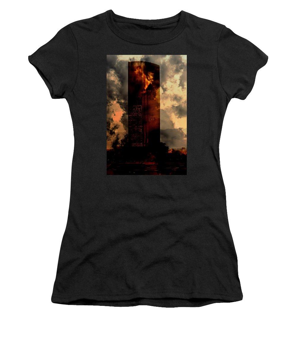 Skyscraper Women's T-Shirt featuring the photograph Surreal Sky Scraper by Gunter Nezhoda