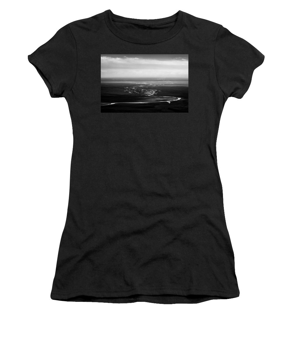 Svinafell Women's T-Shirt (Athletic Fit) featuring the photograph Svinafell Rivulets by Dave Bowman