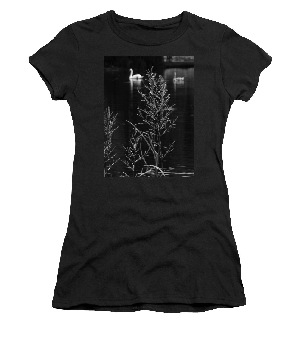 Monochrome Women's T-Shirt (Athletic Fit) featuring the photograph Swan Lake by Steve Taylor