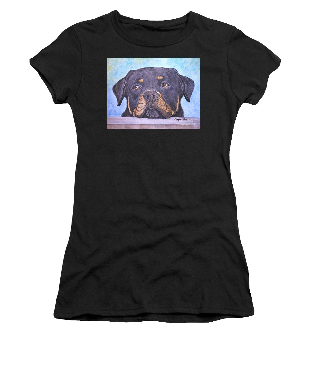 Rottweiler Women's T-Shirt featuring the painting Rottweiler's Sweet Face by Megan Cohen