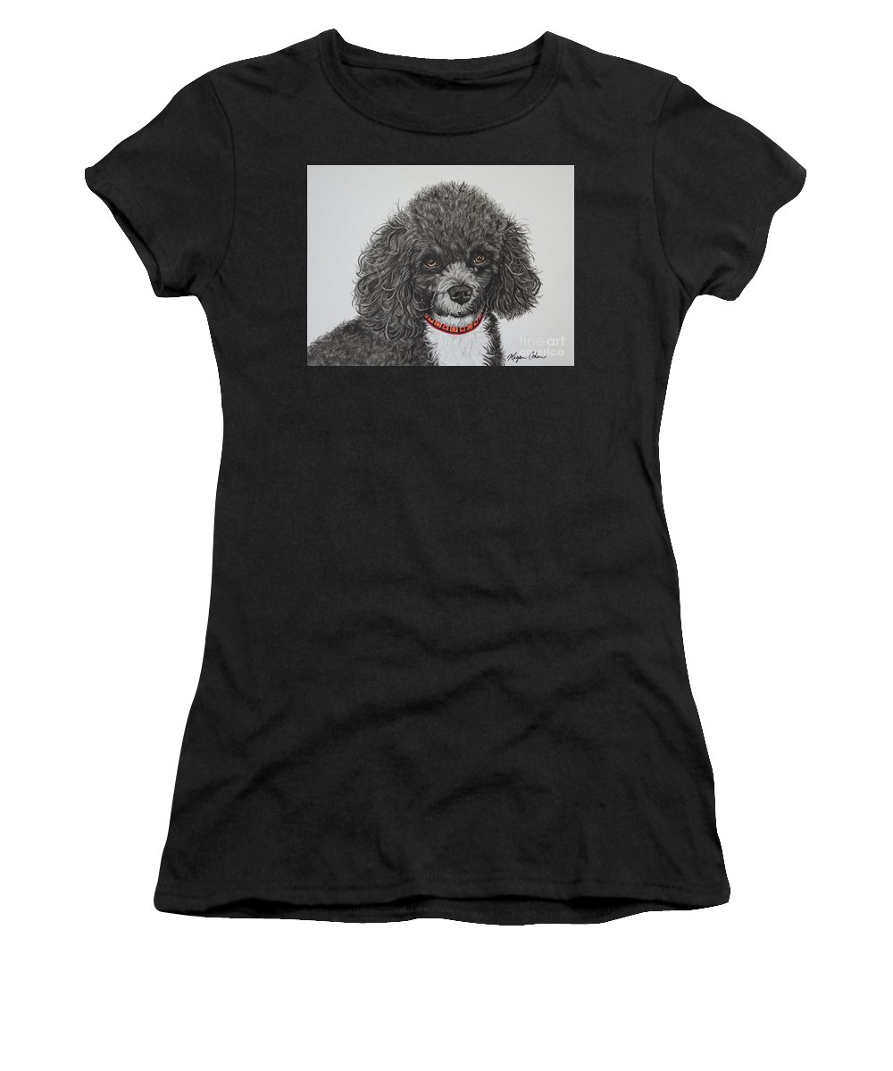 Toy Poodle Women's T-Shirt featuring the painting Sweet Miss Molly The Poodle by Megan Cohen