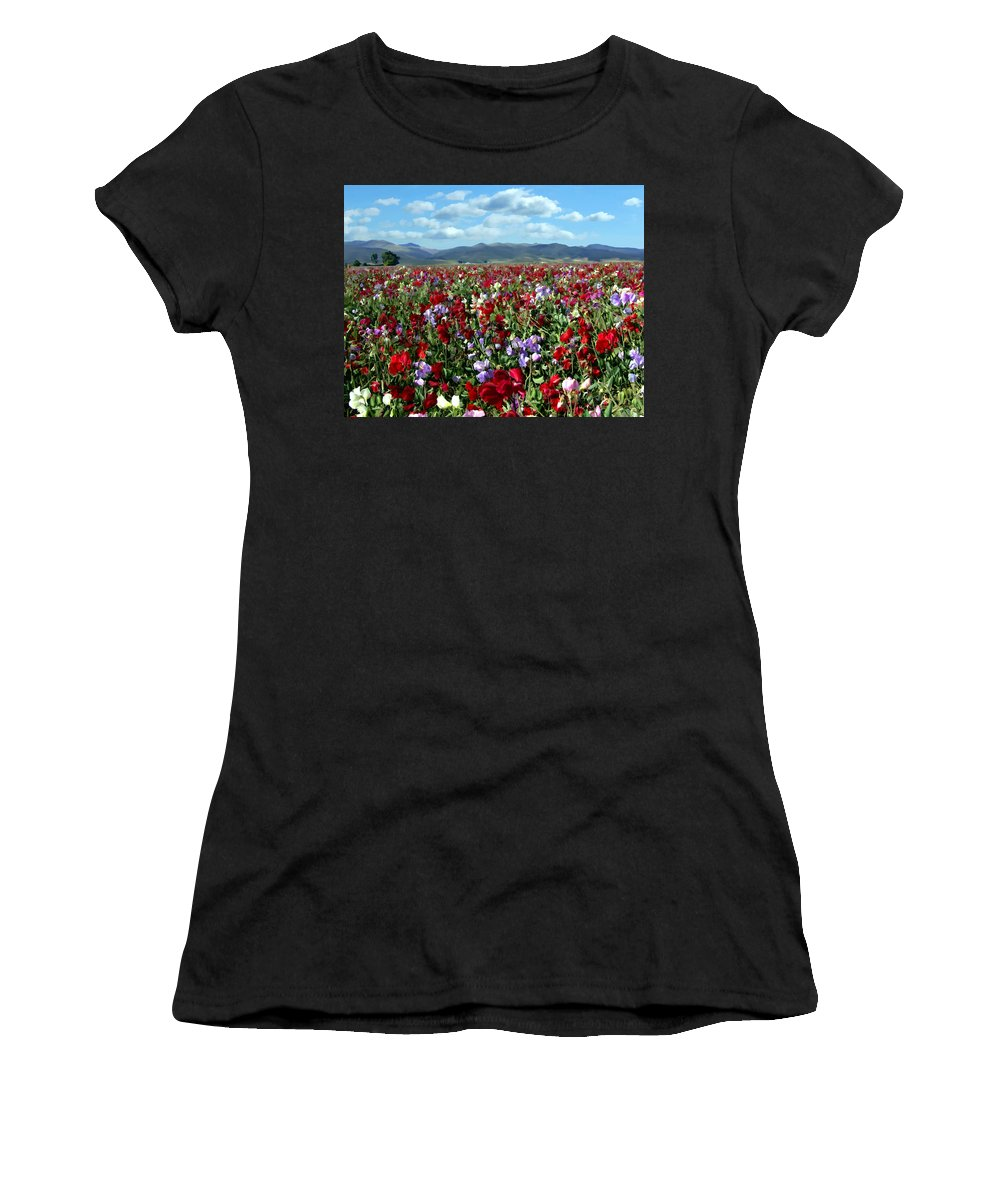 Flowers Women's T-Shirt (Athletic Fit) featuring the photograph Sweet Peas Forever by Kurt Van Wagner