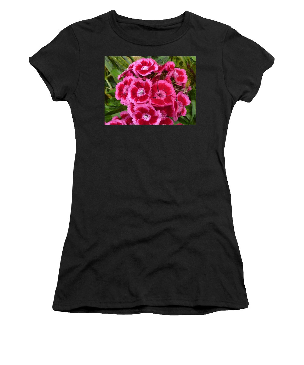 Pink Women's T-Shirt (Athletic Fit) featuring the photograph Sweet William Has A Pink Eye by Steve Taylor