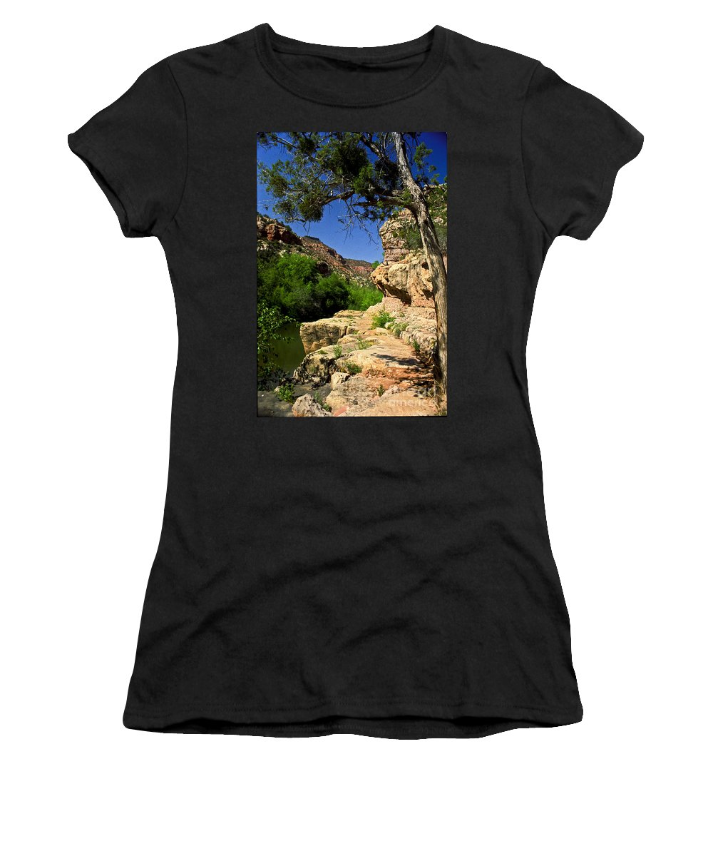 Arizona Women's T-Shirt (Athletic Fit) featuring the photograph Sycamore Canyon by Kathy McClure
