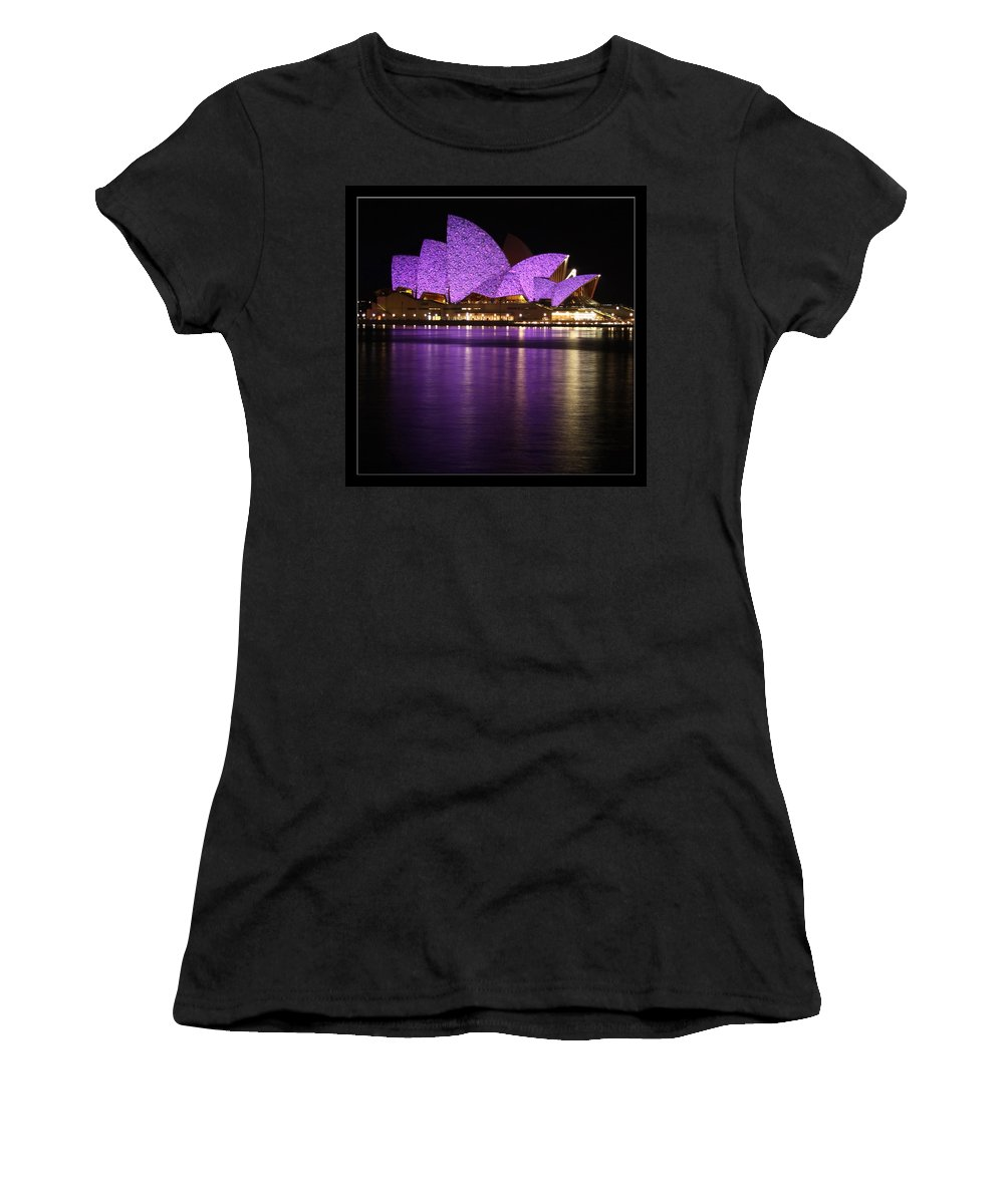 Sydney Women's T-Shirt (Athletic Fit) featuring the photograph Sydney Opera During Vivid Sydney Festival by Alexey Dubrovin
