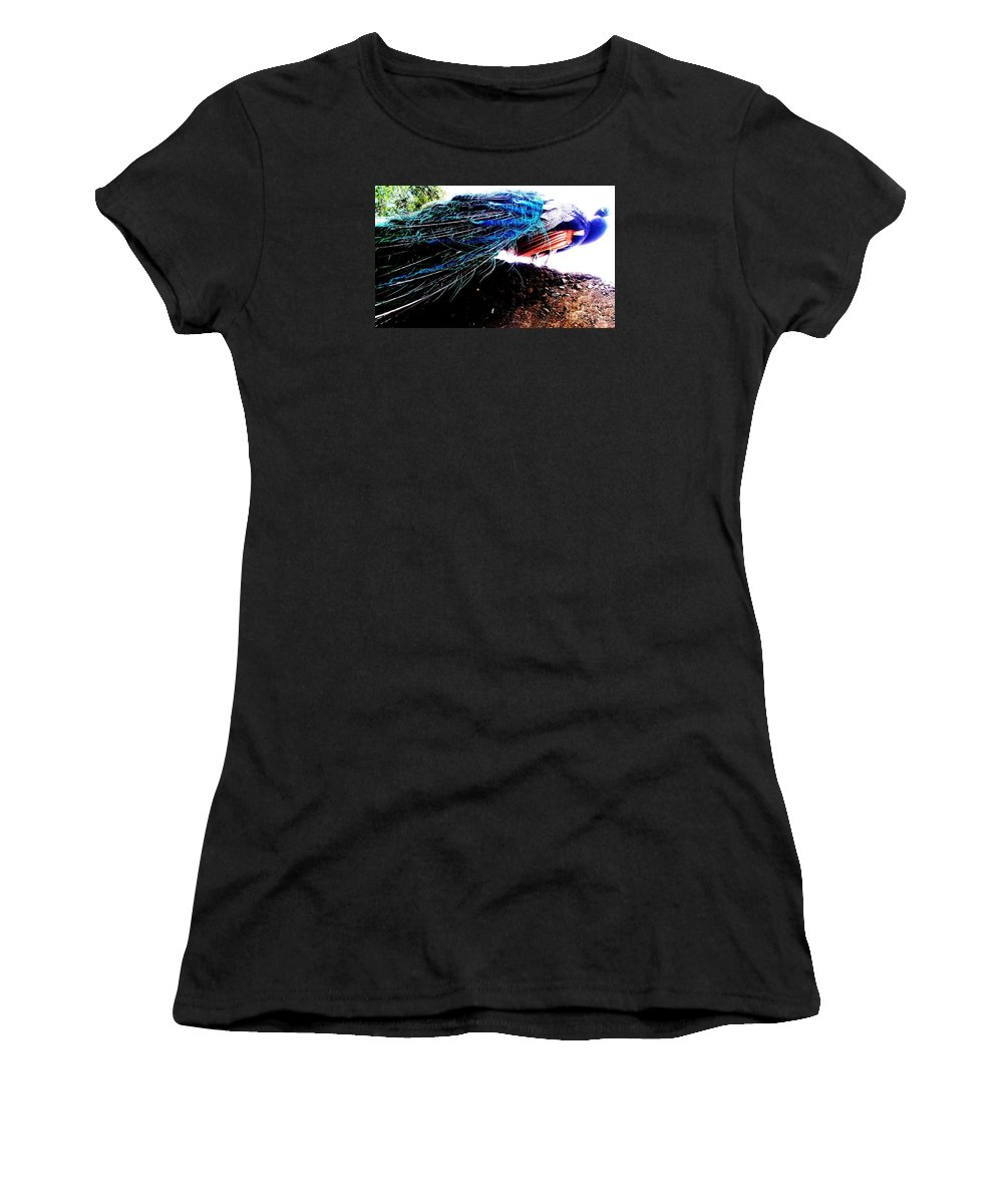 Women's T-Shirt featuring the photograph Tail Of Peacock by Vanessa Palomino